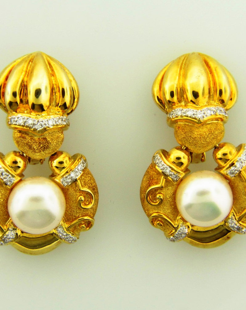 18K Yellow Gold, Door Knocker Pearl Earrings | 18 Karat Appraisers | Beverly Hills, CA | Fine Jewelry