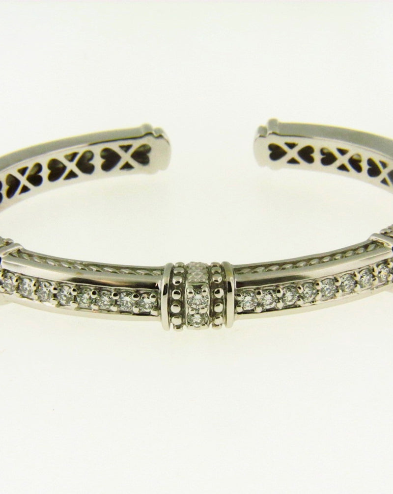 18K White Gold, Diamond Bangle Cuff by