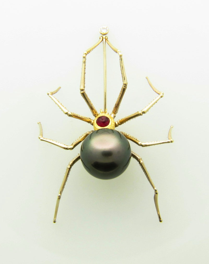 18K Yellow and White Gold, Pearl, Ruby, and Diamond Spider Brooch | 18 Karat Appraisers | Beverly Hills, CA | Fine Jewelry