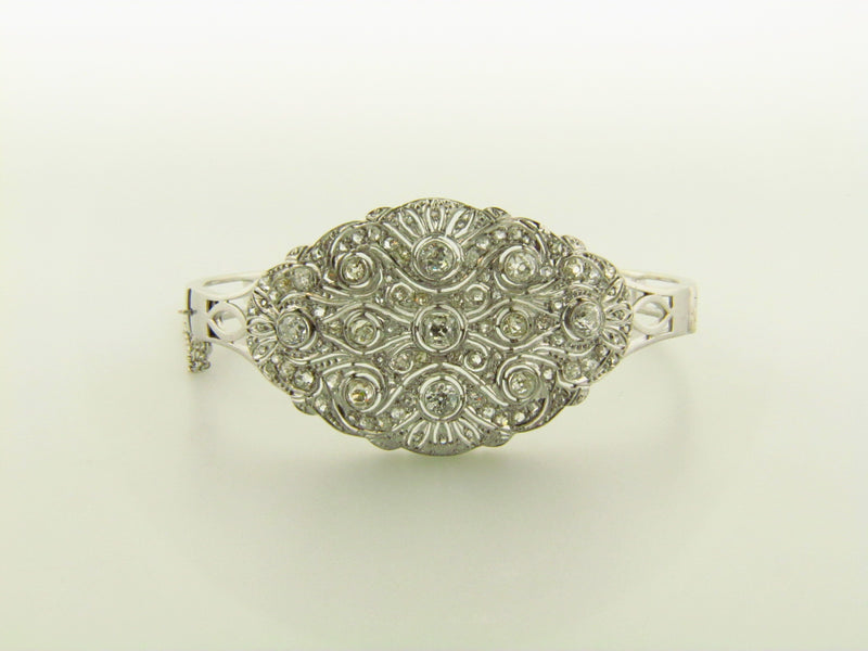 14K White Gold Diamond Bangle Bracelet | 18 Karat Appraisers | Beverly Hills, CA | Fine Jewelry