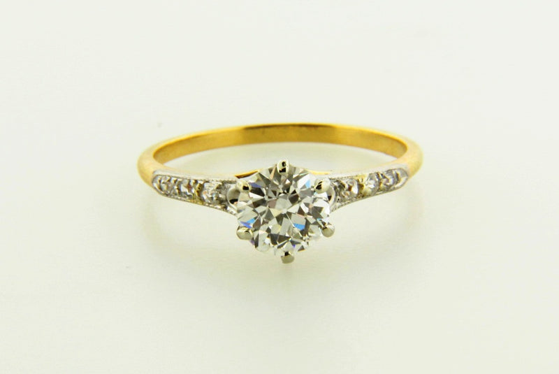 Victorian 18K Yellow Gold, Diamond Solitaire Ring | 18 Karat Appraisers | Beverly Hills, CA | Fine Jewelry
