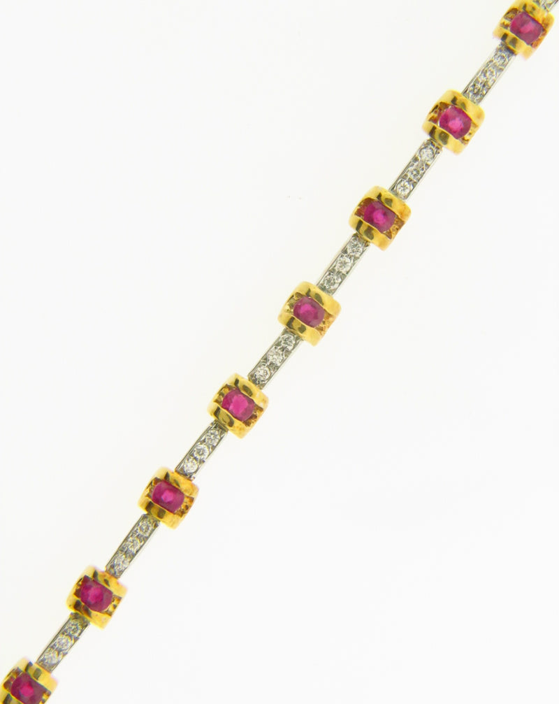 18K Yellow and White Gold, Ruby and Diamond Bracelet | 18 Karat Appraisers | Beverly Hills, CA | Fine Jewelry