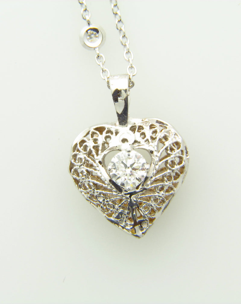 14K WHITE GOLD, DIAMOND HEART PENDANT | 18 Karat Appraisers | Beverly Hills, CA | Fine Jewelry