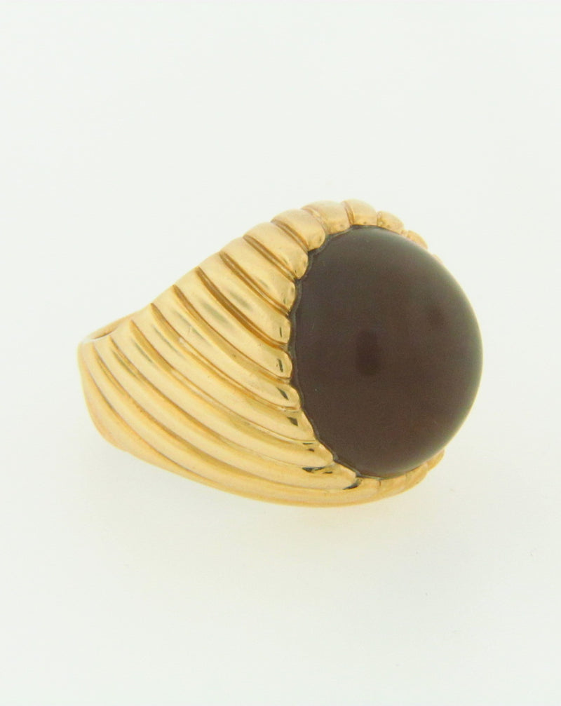 18K YELLOW GOLD CAT'S EYE AGATE RING | 18 Karat Appraisers | Beverly Hills, CA | Fine Jewelry