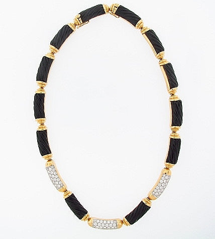 18K-YG CARVED BLACK ONYX AND DIAMOND NECKLACE