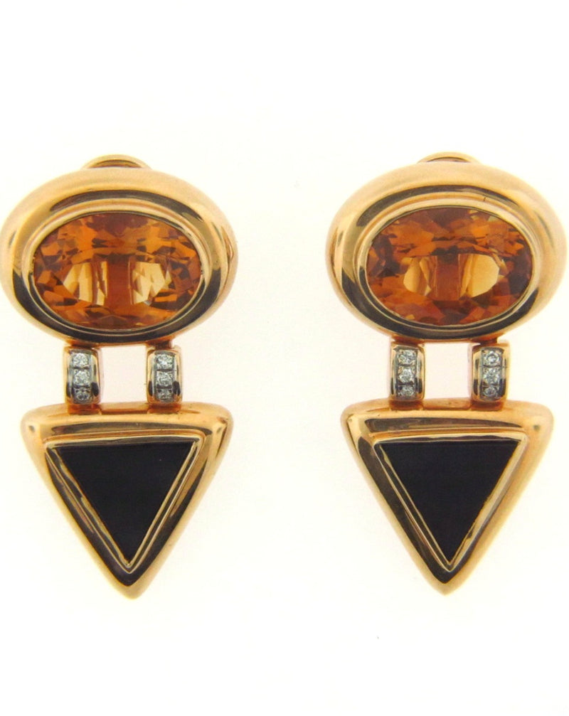 14K Yellow Gold Citrine, Diamond, and Black Onyx Earrings | 18 Karat Appraisers | Beverly Hills, CA | Fine Jewelry