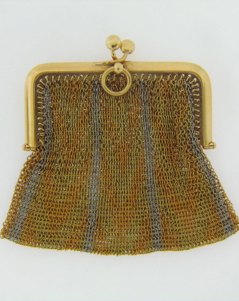 18K YELLOW GOLD AND PLATINUM COIN PURSE | 18 Karat Appraisers | Beverly Hills, CA | Fine Jewelry