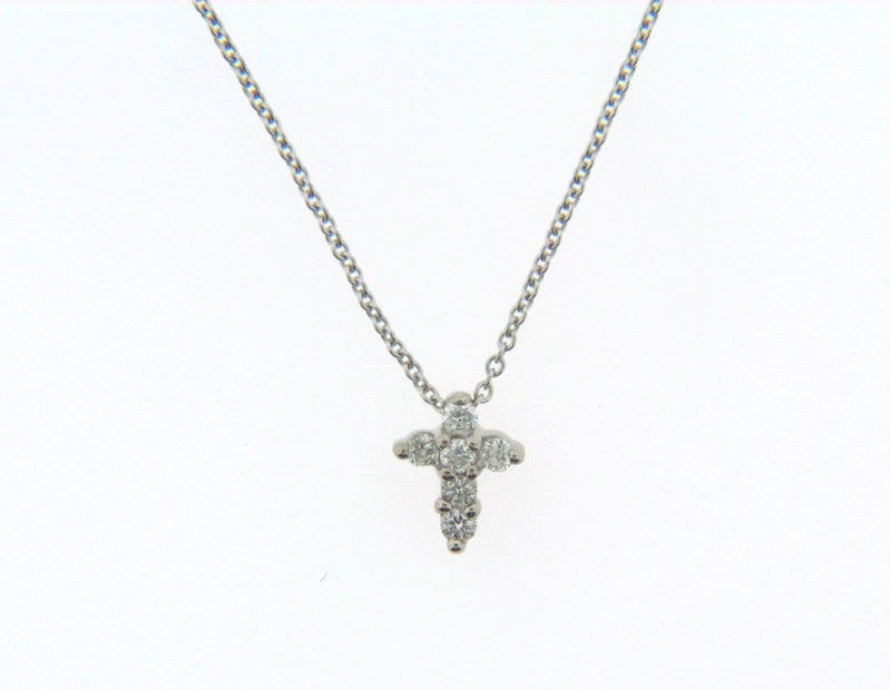 18K White Gold Diamond Cross Pendant by