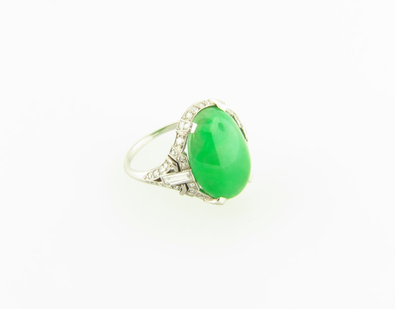 Art Deco, Platinum Jade and Diamond Ring