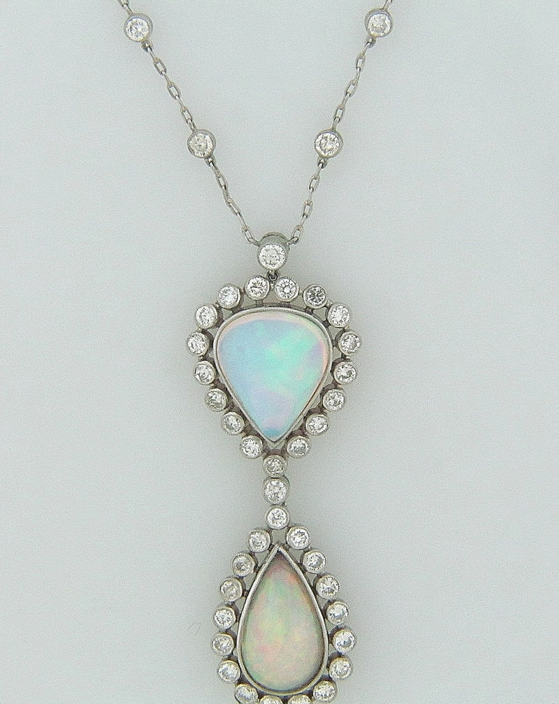 PLATINUM, 18K WHITE GOLD OPAL AND DIAMOND PENDANT | 18 Karat Appraisers | Beverly Hills, CA | Fine Jewelry