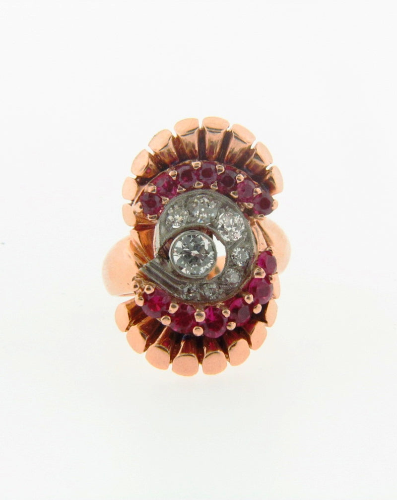 Retro, 14K Rose Gold Diamond and Ruby Ring | 18 Karat Appraisers | Beverly Hills, CA | Fine Jewelry