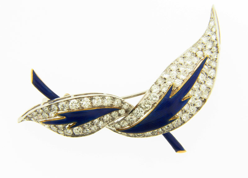 18K Bi-color Gold, Diamond and Enamel Brooch | 18 Karat Appraisers | Beverly Hills, CA | Fine Jewelry
