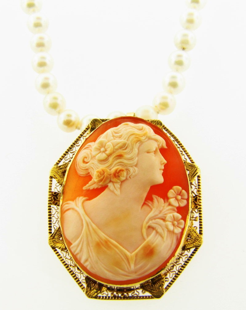Cameo Brooch Pendant with Pearl Strand Necklace | 18 Karat Appraisers | Beverly Hills, CA | Fine Jewelry