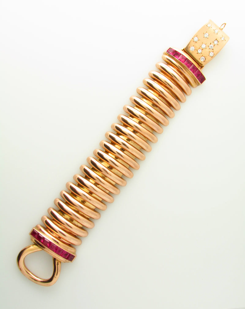 Retro 14K Rose and Yellow Gold, Ruby and Diamond Bracelet | 18 Karat Appraisers | Beverly Hills, CA | Fine Jewelry