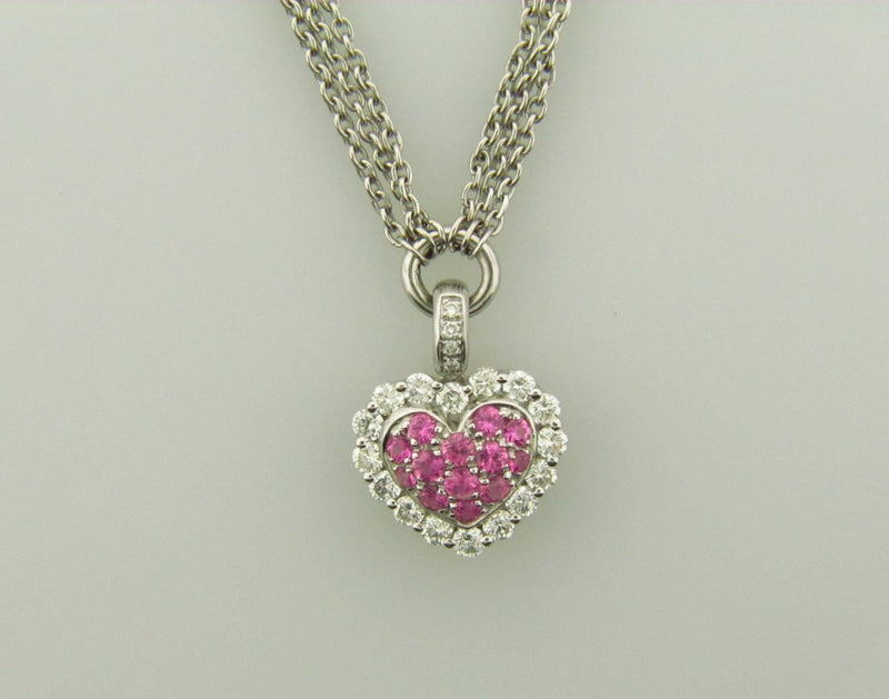 14K White Gold, Pink Sapphire and Diamond Heart Pendant | 18 Karat Appraisers | Beverly Hills, CA | Fine Jewelry