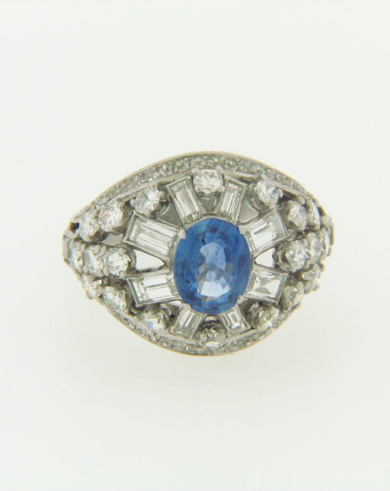 PLATINUM SAPPHIRE AND DIAMOND RING BY