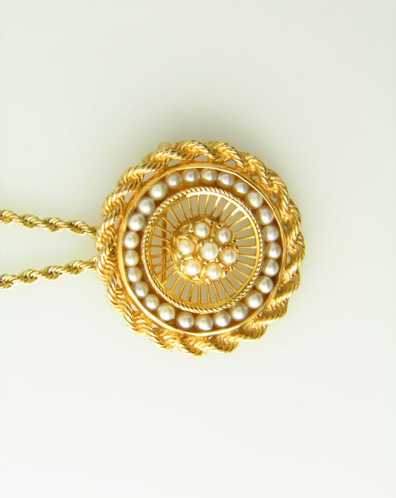 14K Yellow Gold, Circular Pearl Pendant | 18 Karat Appraisers | Beverly Hills, CA | Fine Jewelry