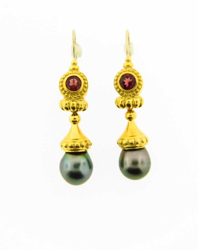 18K Yellow Gold Pearl and Garnet Dangling Earrings | 18 Karat Appraisers | Beverly Hills, CA | Fine Jewelry