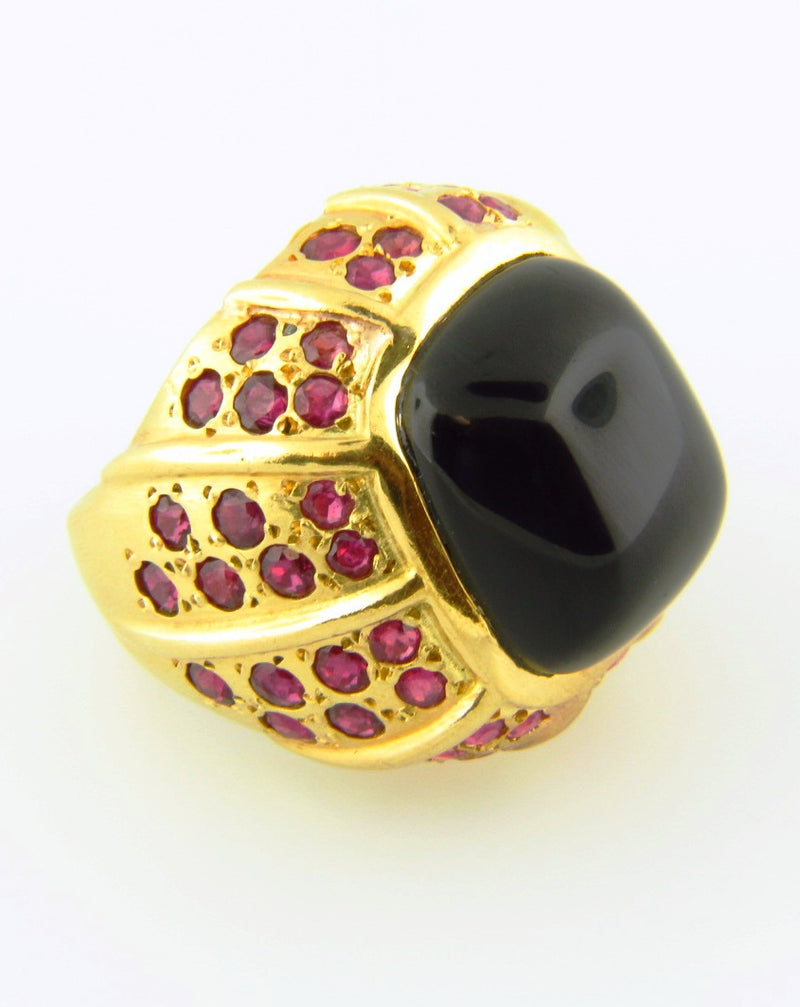 18K Yellow Gold, Onyx and Ruby Ring | 18 Karat Appraisers | Beverly Hills, CA | Fine Jewelry