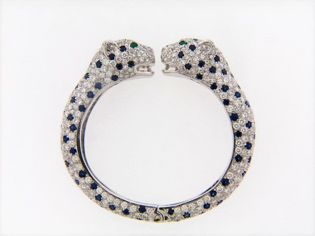 PLATINUM DIAMOND PAVE, SAPPHIRE AND EMERALD PANTHER BANGLE