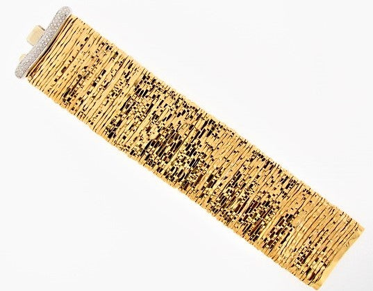 "18K-YG WIDE STRAP DIAMOND BRACELET BY ""ORLANDINI"""