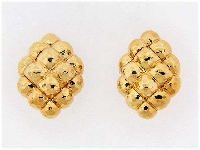 "18K-YG HAMMERED GOLD EARCLIPS BY ""HENRY DUNAY"""