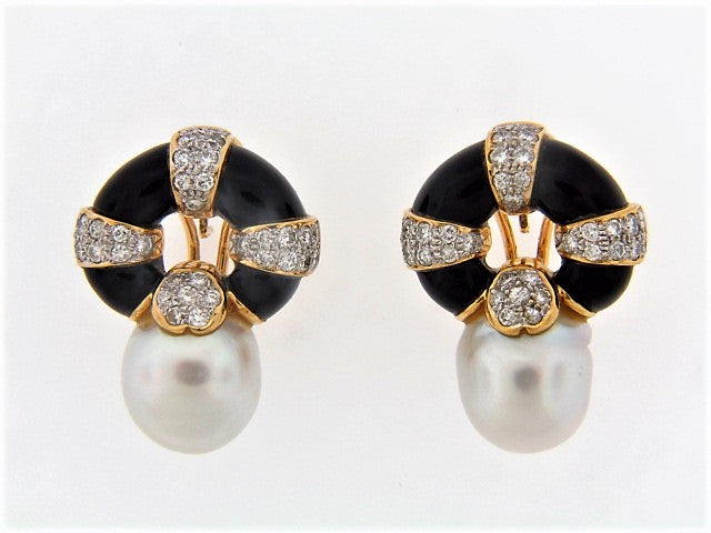 18K-YG PEARL, DIAMOND AND BLACK ONYX EARRINGS
