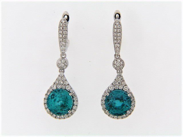 18K-WG BLUE ZIRCON AND DIAMOND DANGLE EARRINGS