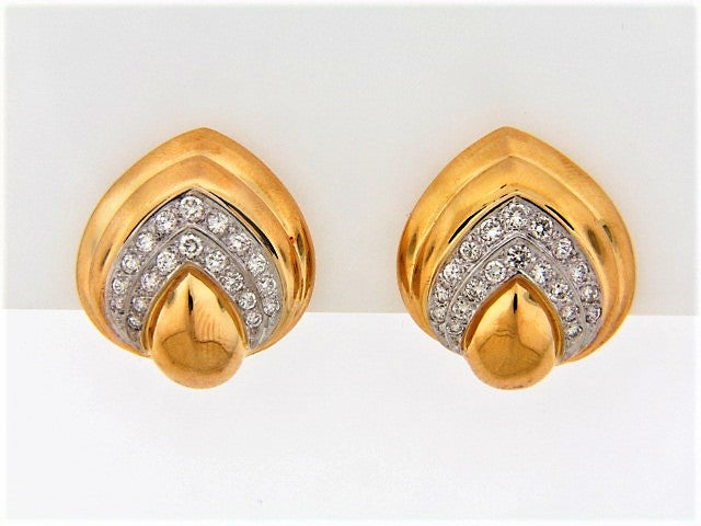 18K-YG DIAMOND EARCLIPS