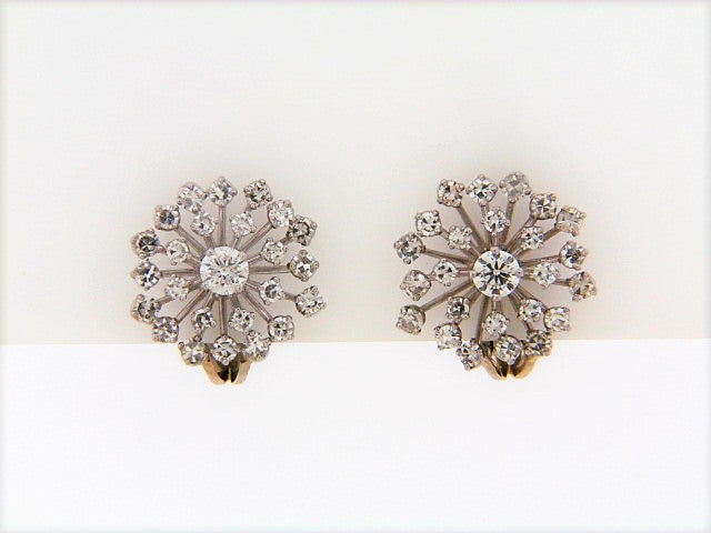 PLATINUM DIAMOND SNOWFLAKE EARCLIPS