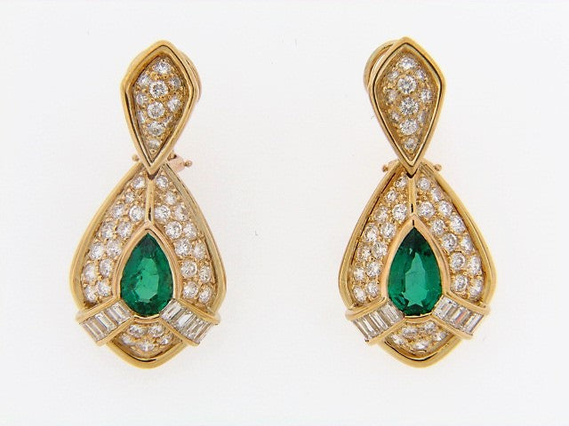18K-YG EMERALD AND DIAMOND DANGLING EARRINGS