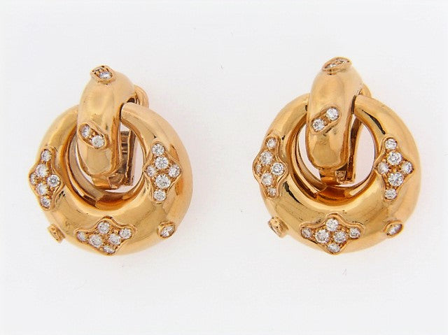 18K-YG DIAMOND DOORKNOCKER EARCLIPS