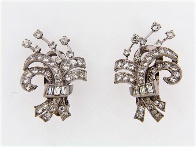PLATINUM DIAMOND SPRAY EARCLIPS