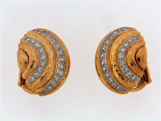 "18K-YG AND PLATINUM DIAMOND EARCLIPS BY ""A.CLUNN"""