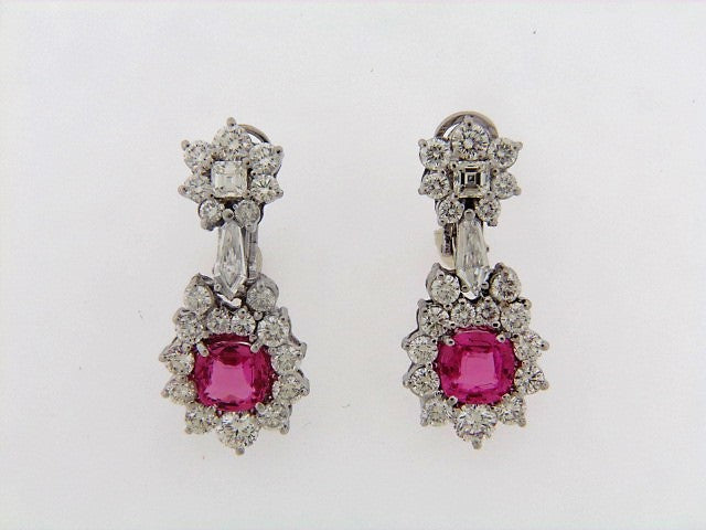 PLATINUM+18K-WG PINK SAPPHIRE AND DIAMOND DANGLE EARRINGS