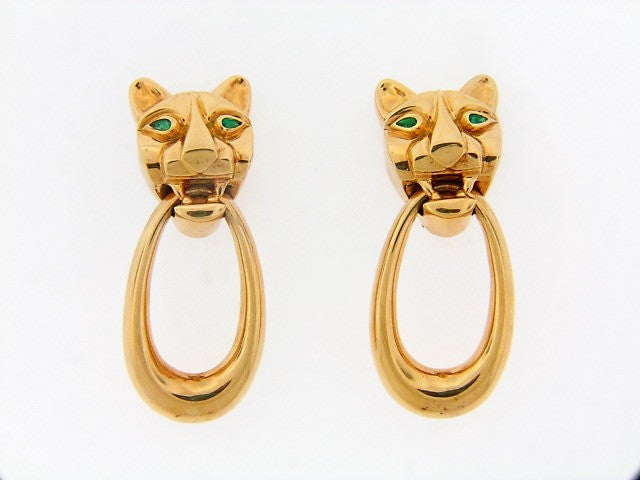 18K-YG PANTHER MOTIF DANGLE EARCLIPS