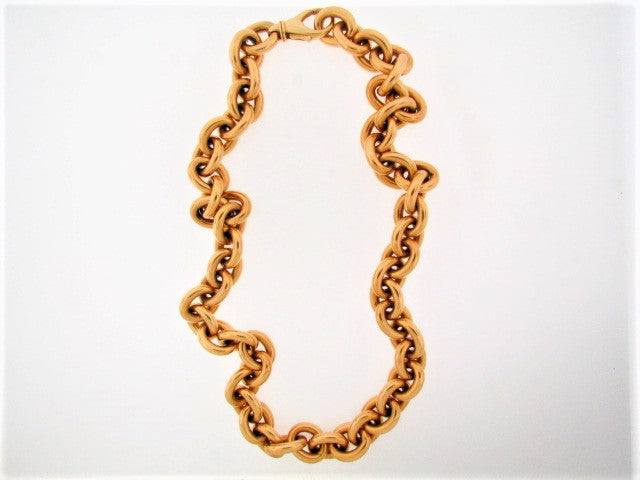 18K YELLOW GOLD OVAL LINK NECKLACE / BRACELET COMBO