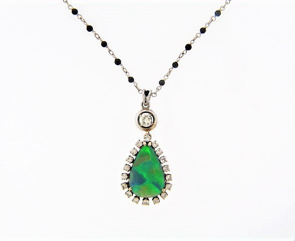 18K-WG BLACK OPAL AND DIAMOND PENDANT