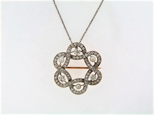 PLATINUM TOPPED GOLD DIAMOND PENDANT / BROOCH