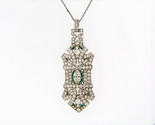 PLATINUM DIAMOND AND EMERALD PENDANT / BROOCH