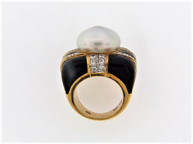 18K-YG PEARL, DIAMOND AND BLACK ONYX RING