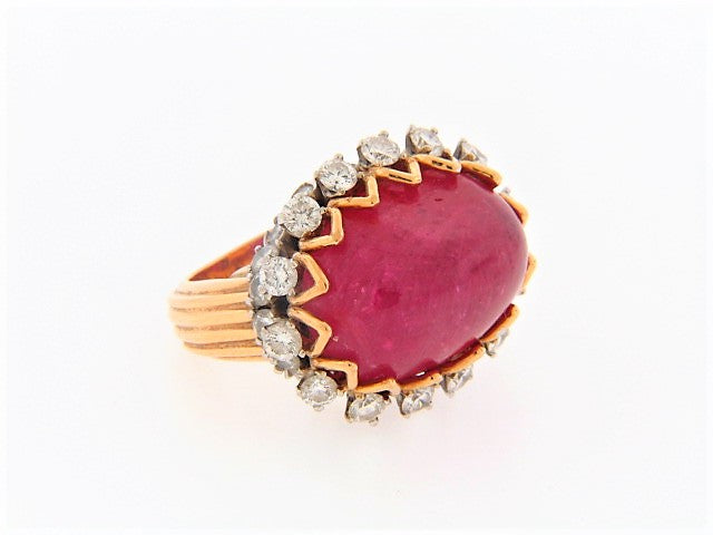 18K-YG PINK SAPPHIRE AND DIAMOND RING