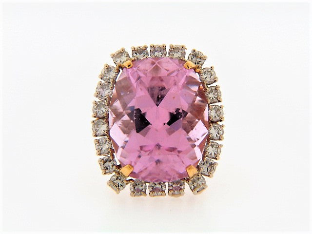 14K-YG PINK KUNZITE AND DIAMOND RING