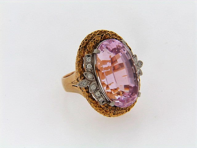 18K-YG AND PLATINUM KUNZITE AND DIAMOND RING