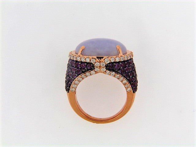 18K-RG LAVENDER JADEITE, AMETHYST AND DIAMOND RING