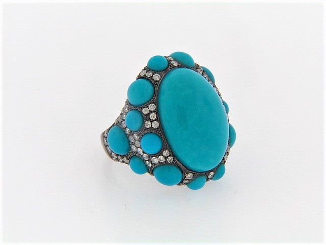 18K BLACKENED GOLD TURQUOISE AND DIAMOND RING