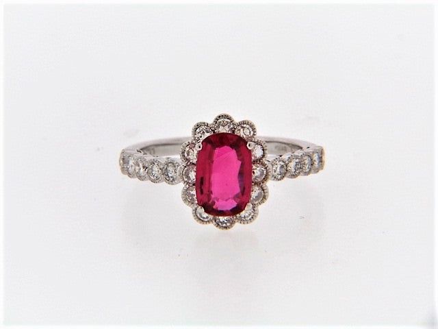18K-WG RUBY AND DIAMOND RING