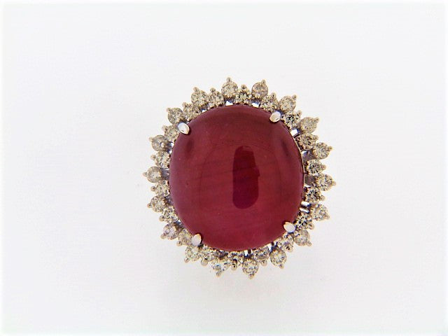 18K-WG STAR RUBY AND DIAMOND RING