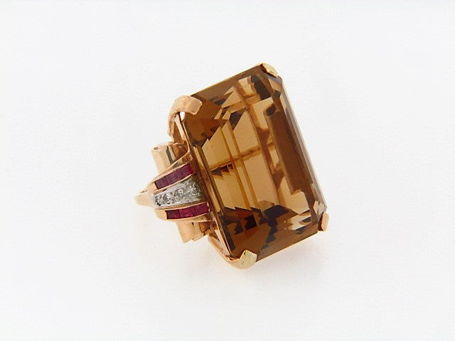 14K-YG+RG CITRINE, RUBY AND DIAMOND RING