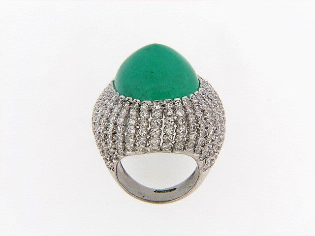 14K-WG EMERALD AND DIAMOND BOMBE RING